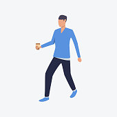 Walking man with cup of coffee. Break, student, morning. Can be used for topics like caffeine, beverage, cafe