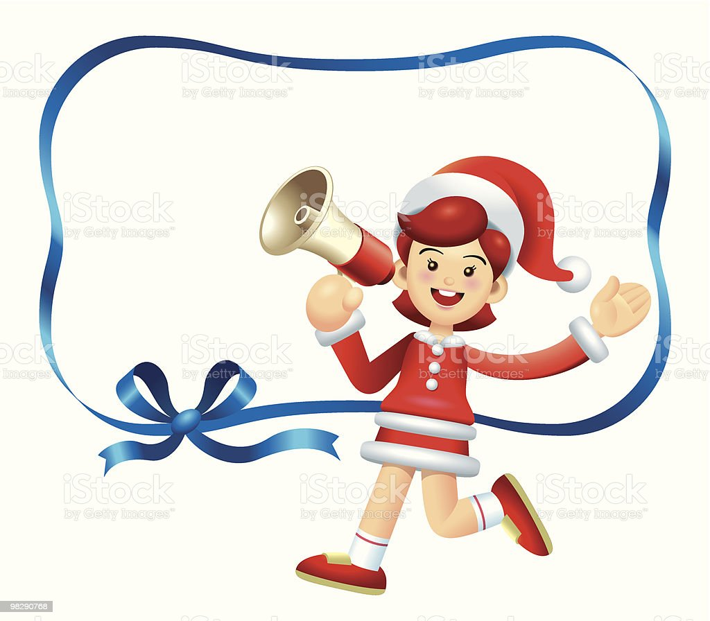 Walking Megaphone Christmas Girl royalty-free walking megaphone christmas girl stock vector art & more images of blue