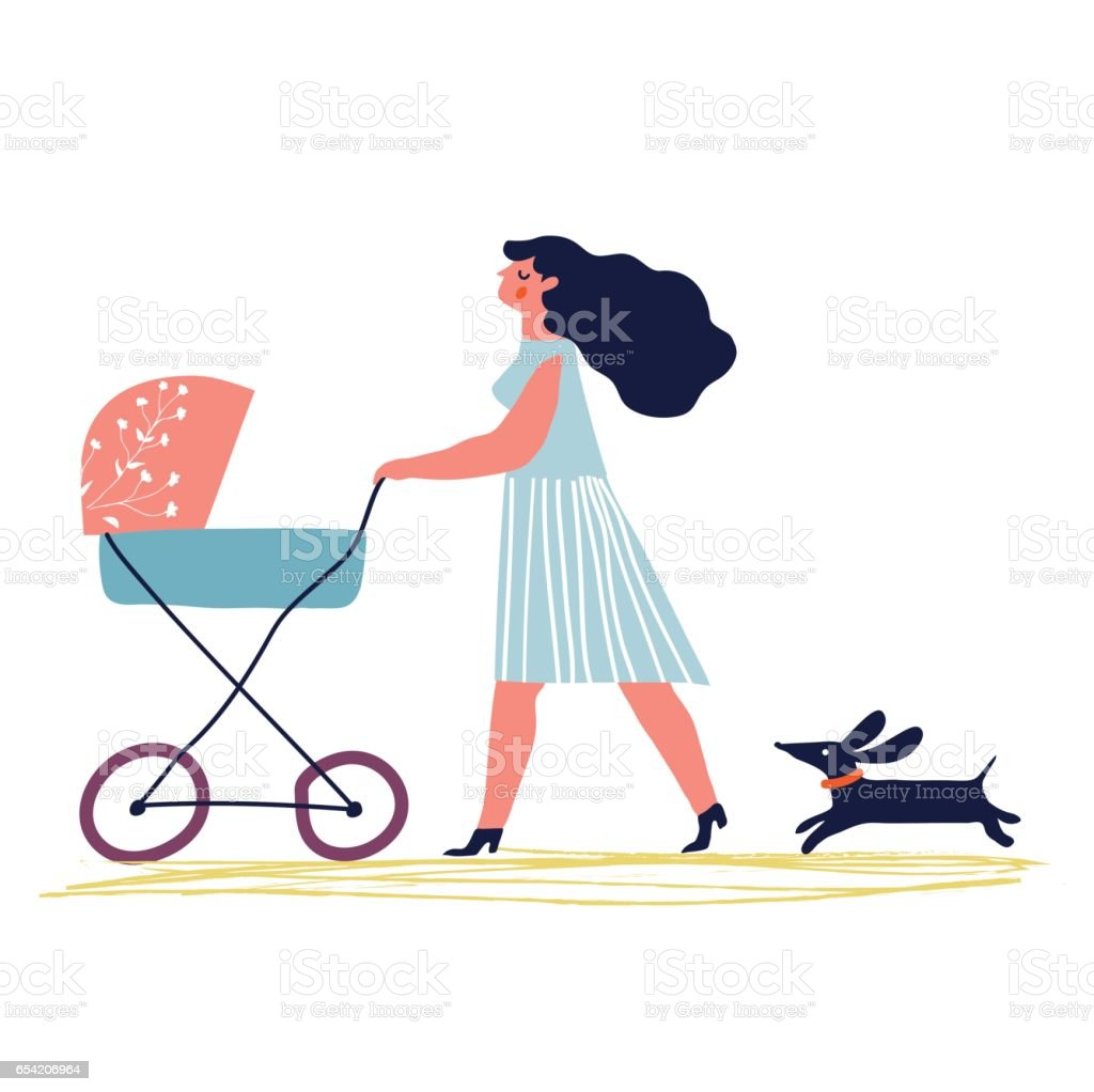 walking mother vector art illustration