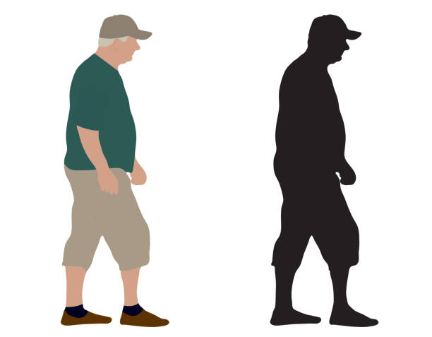 walking old man and silhouette, vector illustration, isolated on white background. - old man standing drawings stock illustrations, clip art, cartoons, & icons