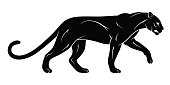 Vector Illustration of a beautiful and powerful Puma profile clip art in a set of two option colors