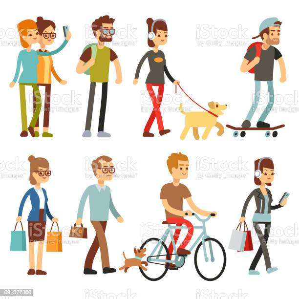 Walking people human persons on street in outdoor activity vector set vector id691377356?b=1&k=6&m=691377356&s=612x612&h=af0duqockm0awyxrbs8dxbf4bazzhnif 2wjlrxrg0g=
