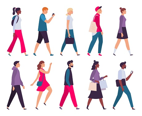 Walking people. Men and women profile, side view walk person and walkers characters vector illustration set