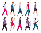 Walking people. Men and women profile, side view walk person and walkers characters. Businessman go work or casual look women go shopping. Isolated vector illustration icons set