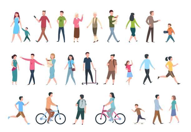 걷는 사람들. 캐주얼 옷에 사람, 군중 시에 산책. 벡터 인간의 문자 세트 - 가정 물건 실루엣 stock illustrations