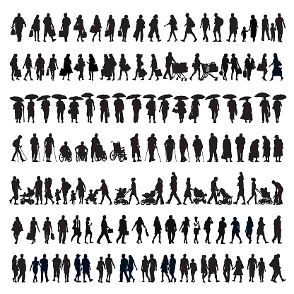 Walking people silhouette clipart