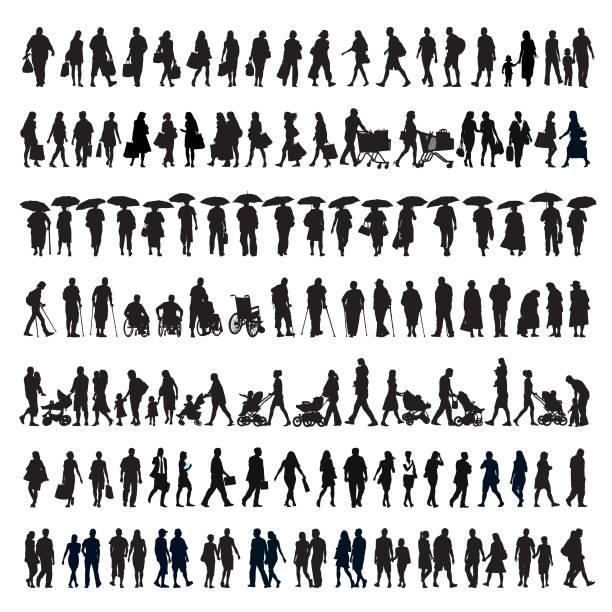 sylwetka spacerujących ludzi - neutralne tło stock illustrations