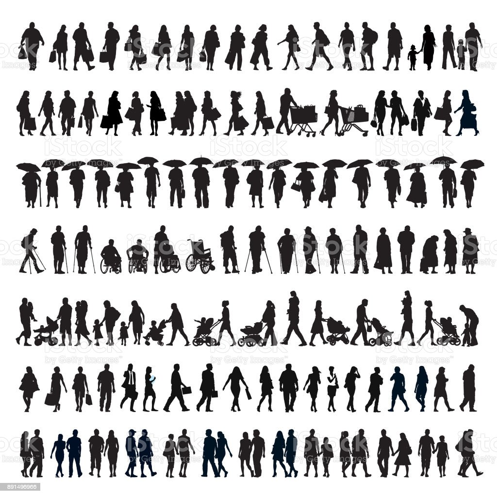 Walking people silhouette vector art illustration