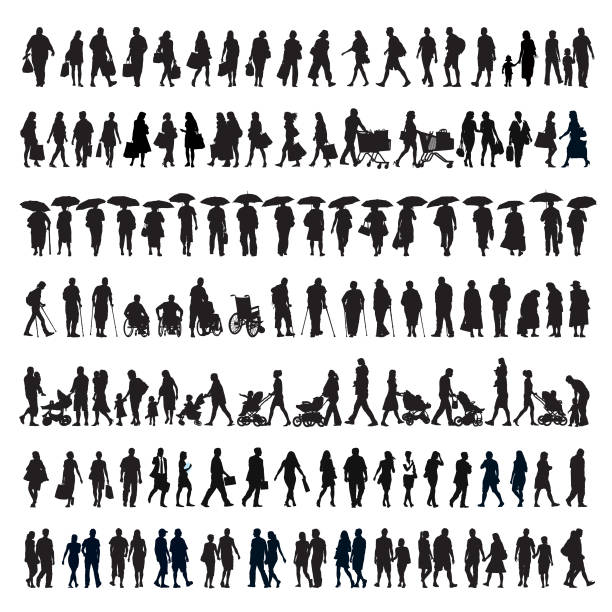 walking people silhouette - handel detaliczny stock illustrations