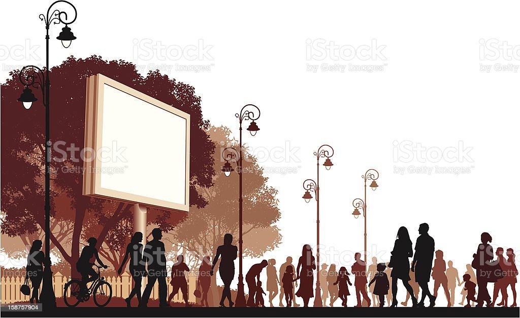 Walking People vector art illustration