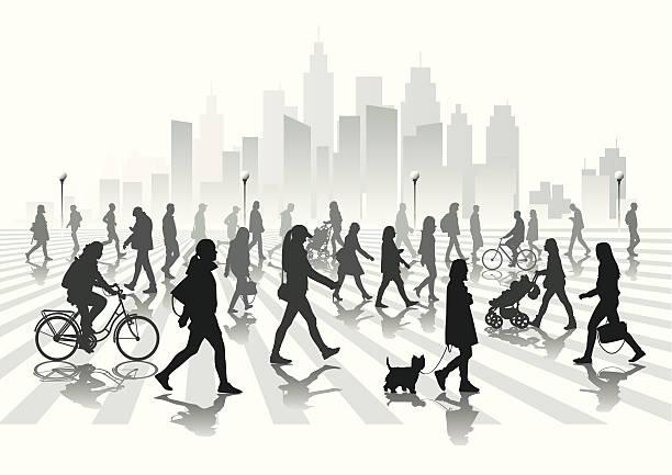 stockillustraties, clipart, cartoons en iconen met walking people - stadsleven
