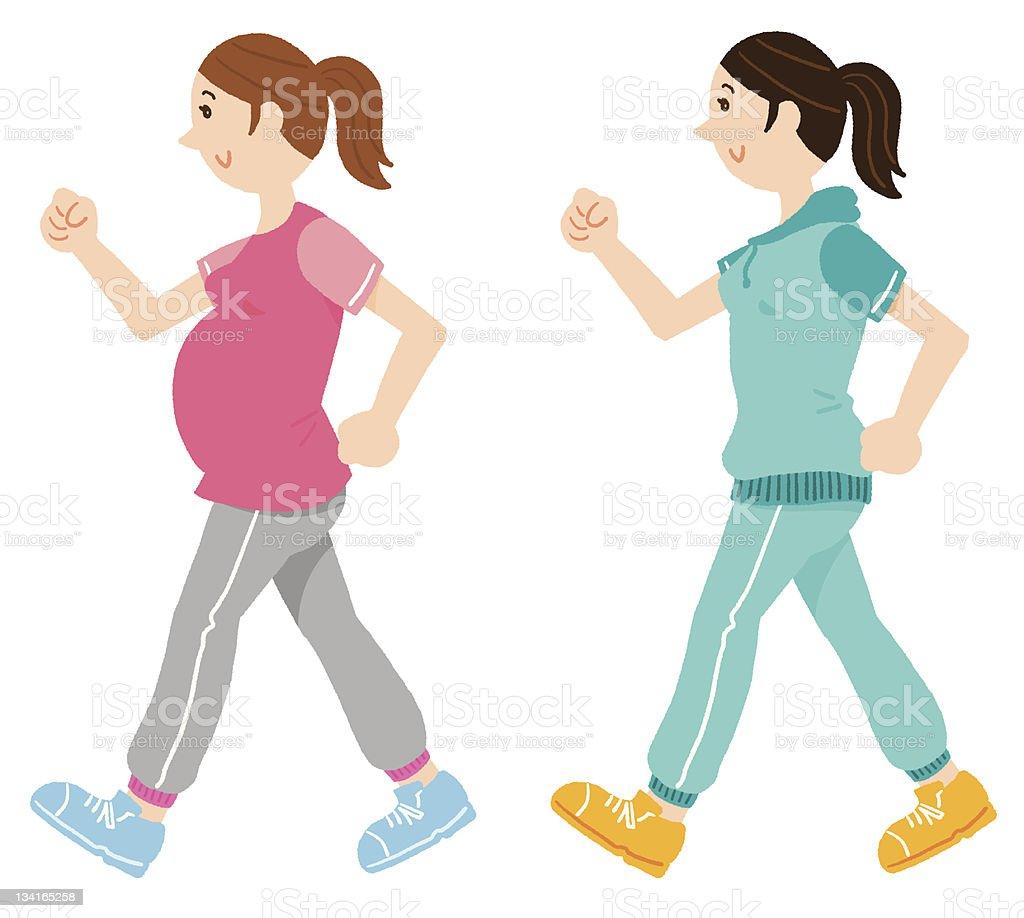 Walking Pregnant Woman Stock Illustration Download Image