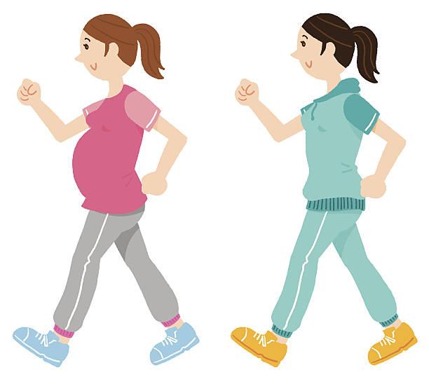 walking pregnant woman vector art illustration
