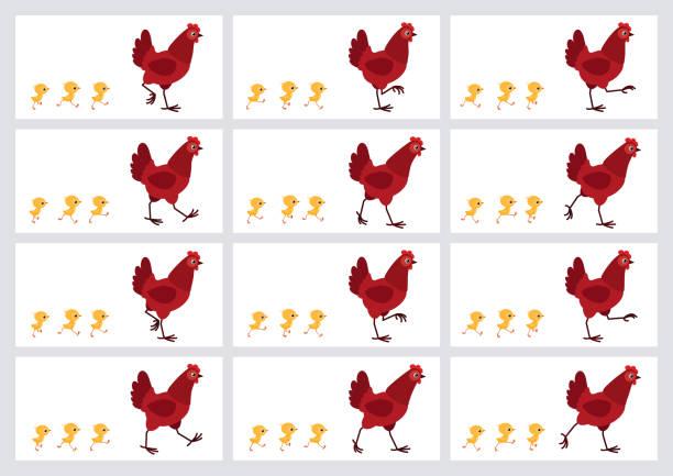 走紅色母雞和小雞動畫精靈板查出在白色背景 - gif 幅插畫檔、美工圖案、卡通及圖標