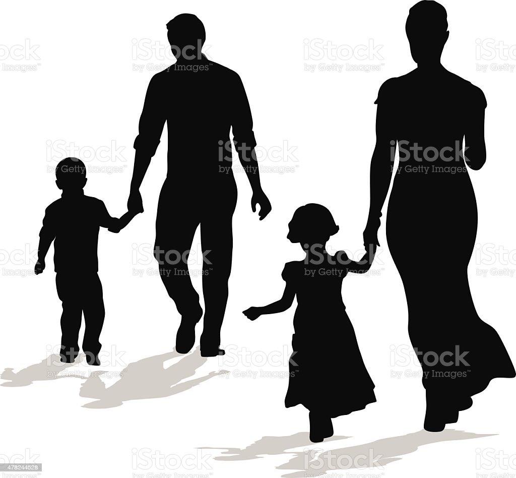 Walking Silhouette Family vector art illustration