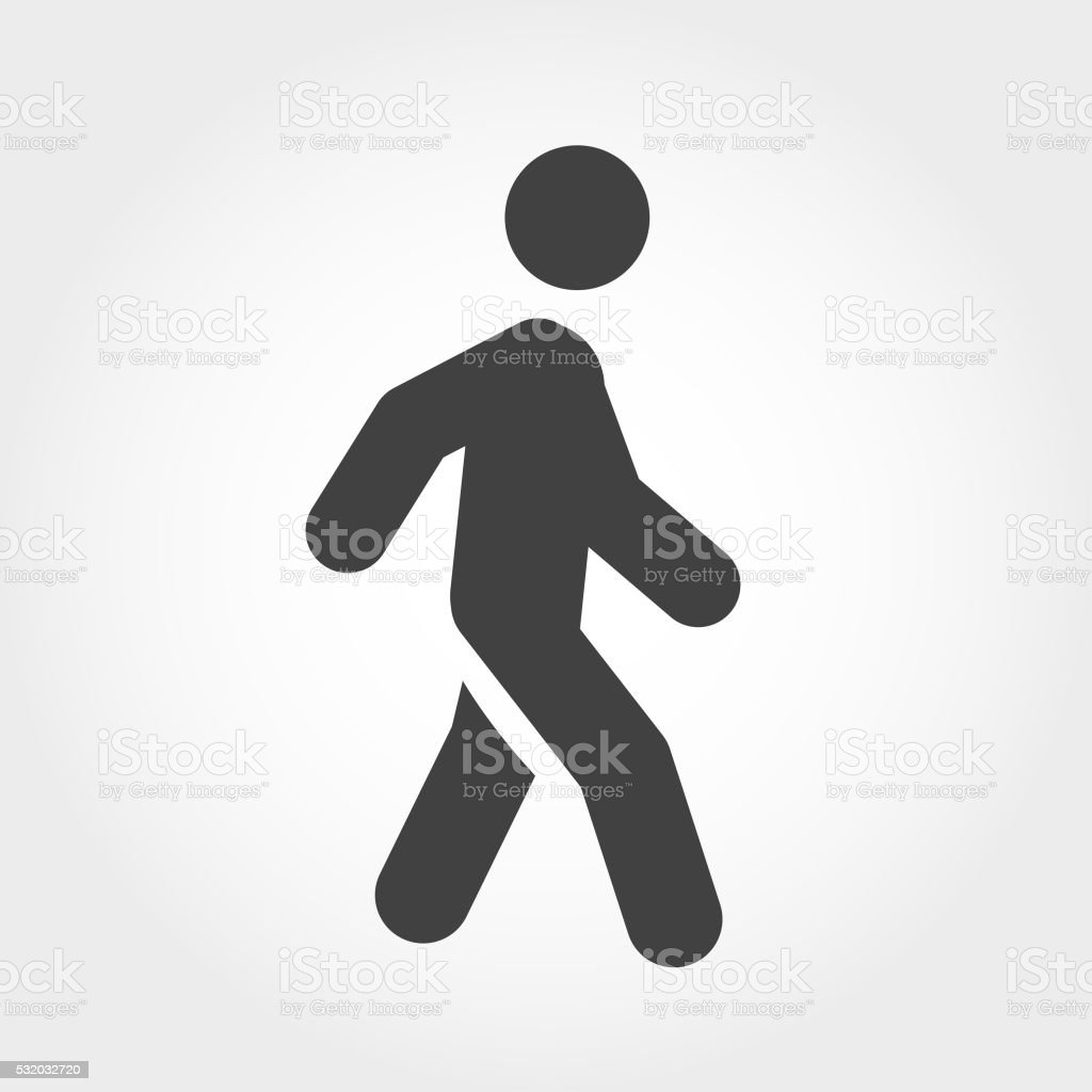 Walking Stick Figure Icon - Iconic Series vector art illustration