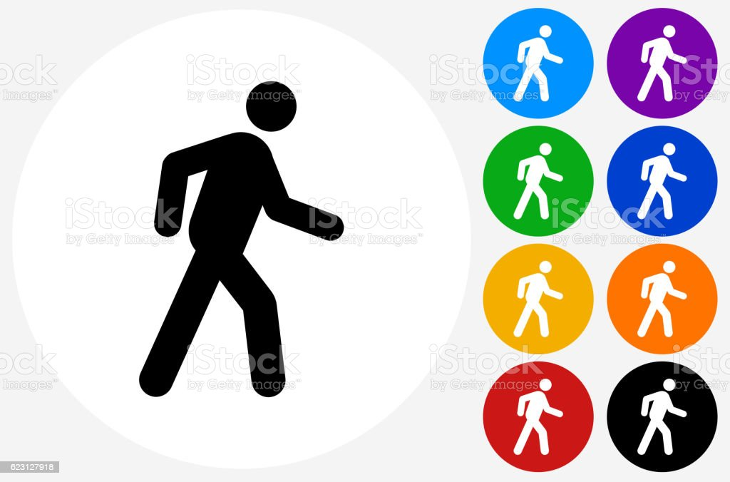 Walking Stick Figure Icon on Flat Color Circle Buttons vector art illustration