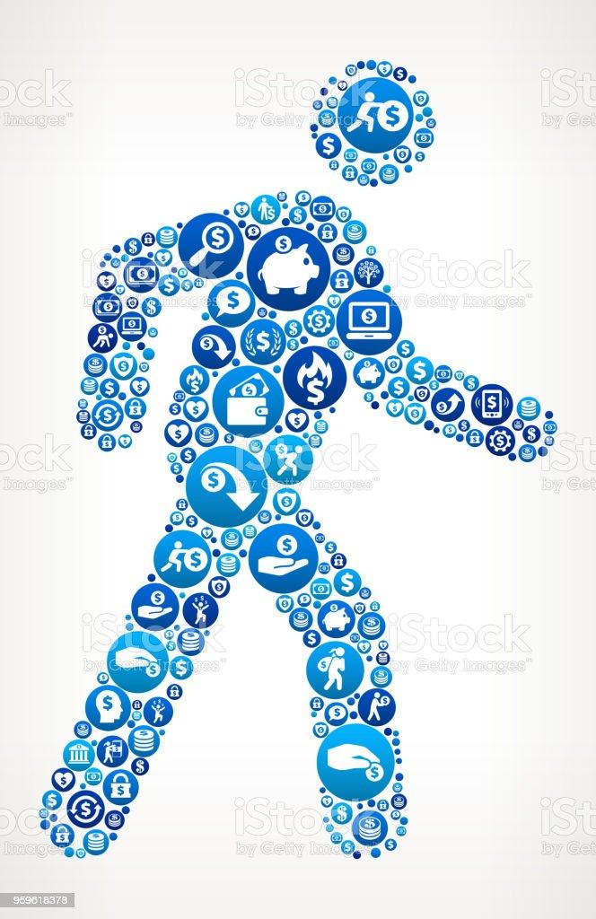 Caminar Stick figura dinero icono azul de fondo - arte vectorial de Actividades bancarias libre de derechos