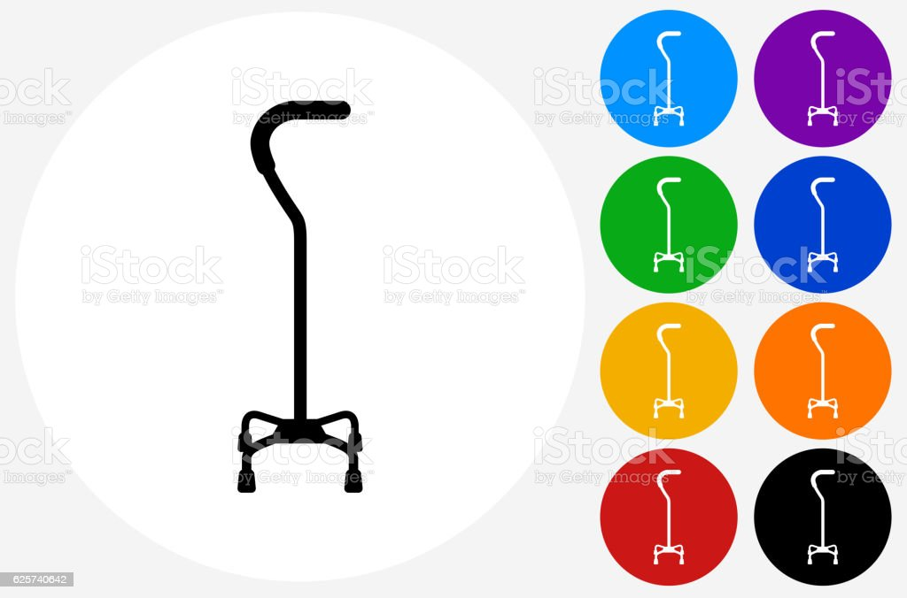 Walking Stick Icon on Flat Color Circle Buttons vector art illustration