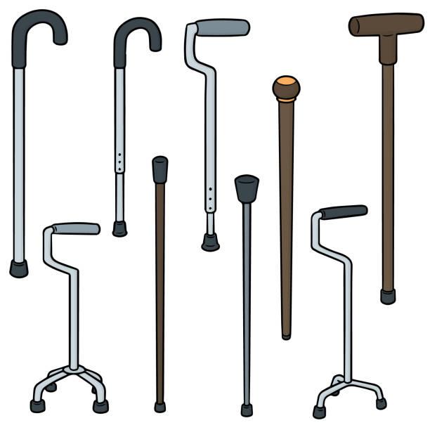walking stick – artystyczna grafika wektorowa