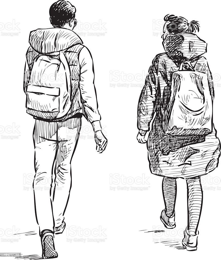 walking students vector art illustration