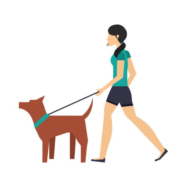 개 디자인 산책 - 강아지 실루엣 stock illustrations