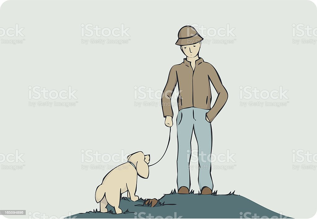 Walking the dog royalty-free stock vector art