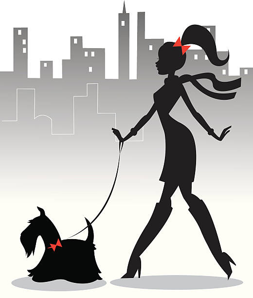 Walking the Pup The silhouette of a girl walking her dog through the city. They both have matching red bows. heyheydesigns stock illustrations