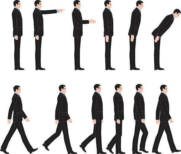 Walking, to bow, businessman vector art illustration