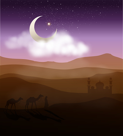 walking to the mosque in starry night desert
