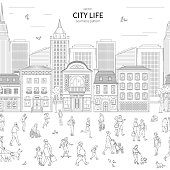 Walking urban crowd on street and building in city seamless pattern. Children and adults in various situations line art style vector black white illustration background
