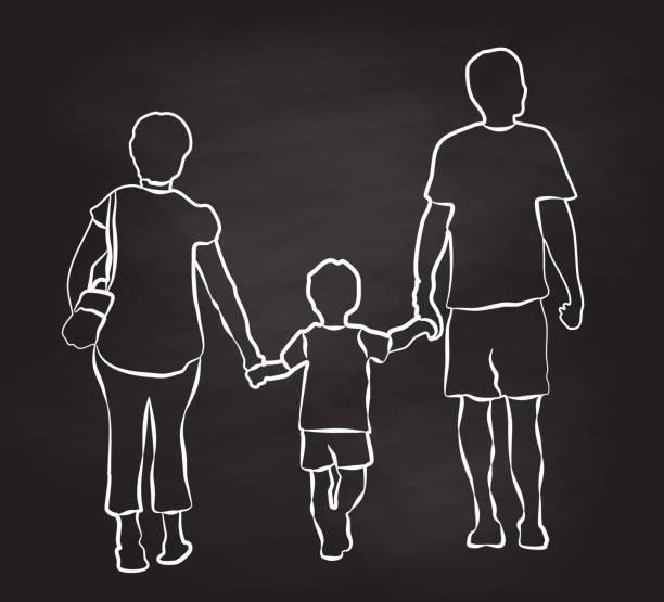 Wandern mit Eltern-Kleinkind – Vektorgrafik