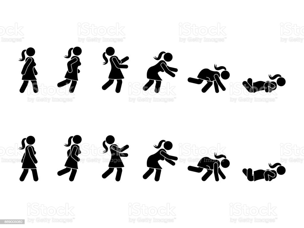 Walking woman stick figure pictogram set. Different positions of stumbling and falling icon set symbol posture on white vector art illustration