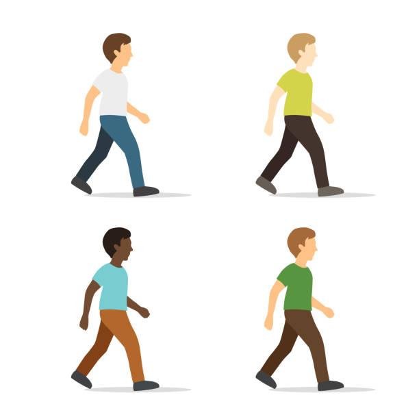 illustrazioni stock, clip art, cartoni animati e icone di tendenza di walking young man in flat style - mika