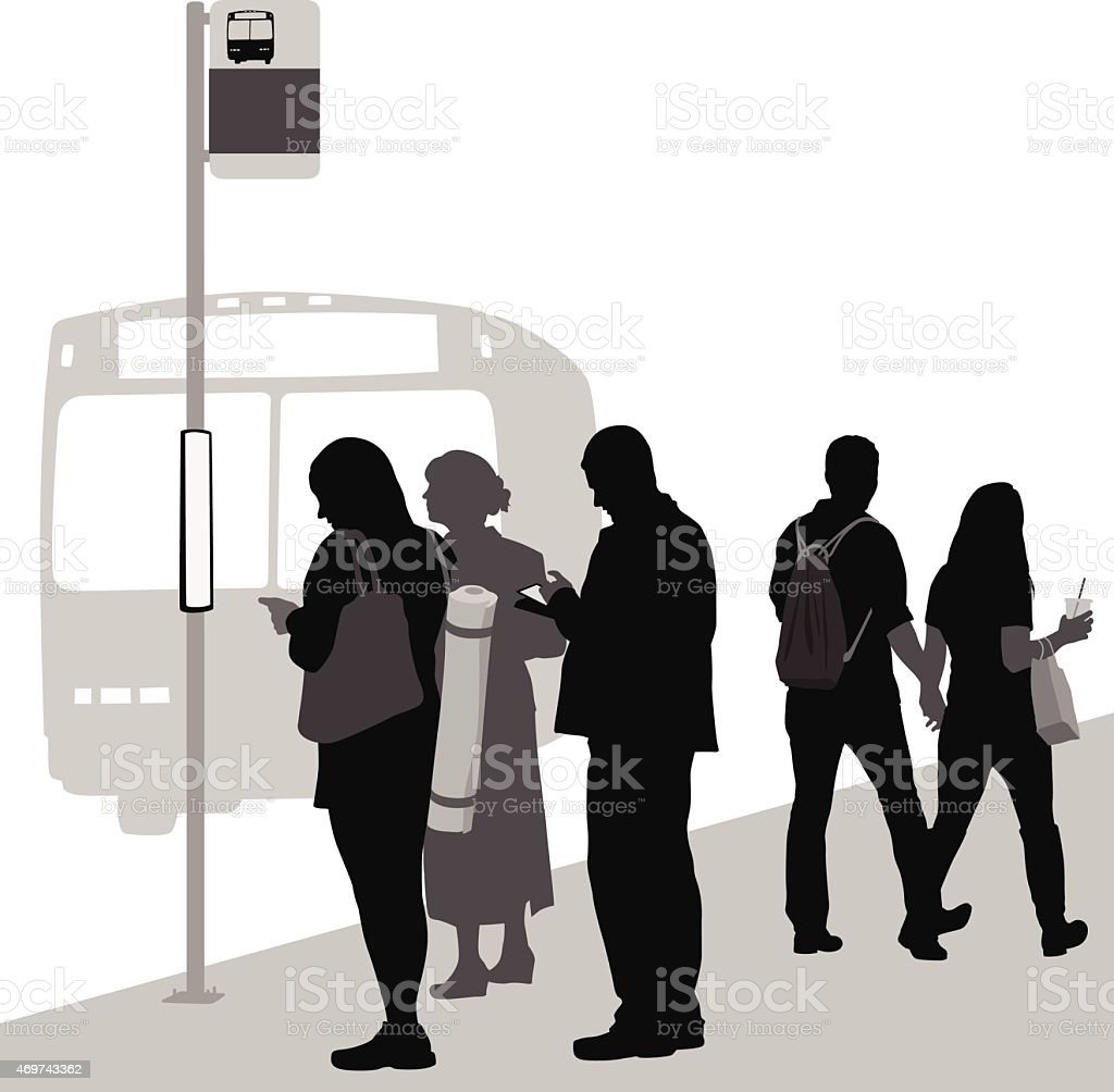 WalkingOrWaiting vector art illustration