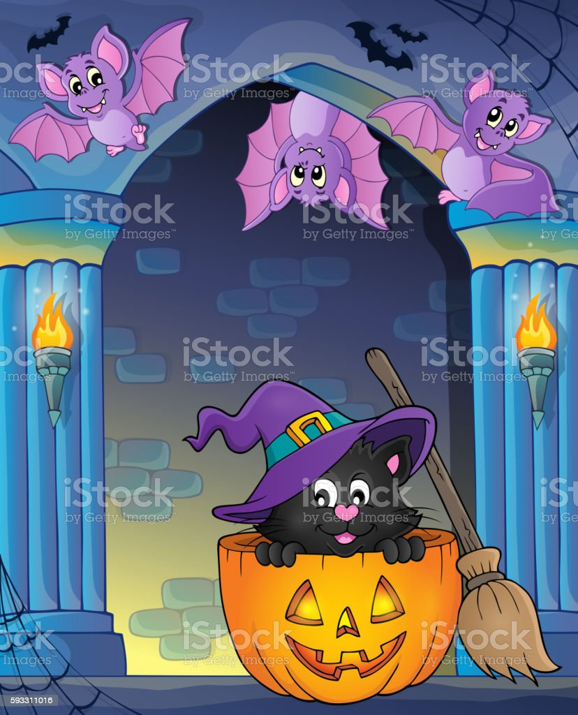Wall Alcove With Cat In Pumpkin stock vector art 593311016 | iStock