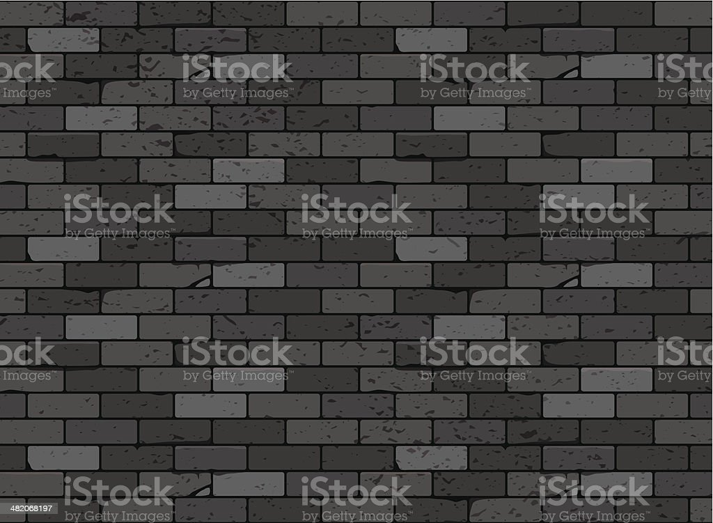 black brick texture. Wall Brick Seamless Pattern Black Vector Art Illustration Texture