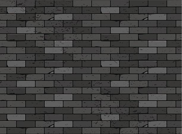 Wall brick seamless pattern Black vector art illustration