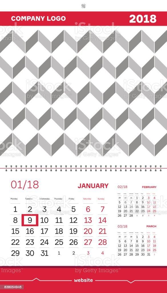Wall Calendar 2018 Vector Design Template Quarter Calendar 2018 With