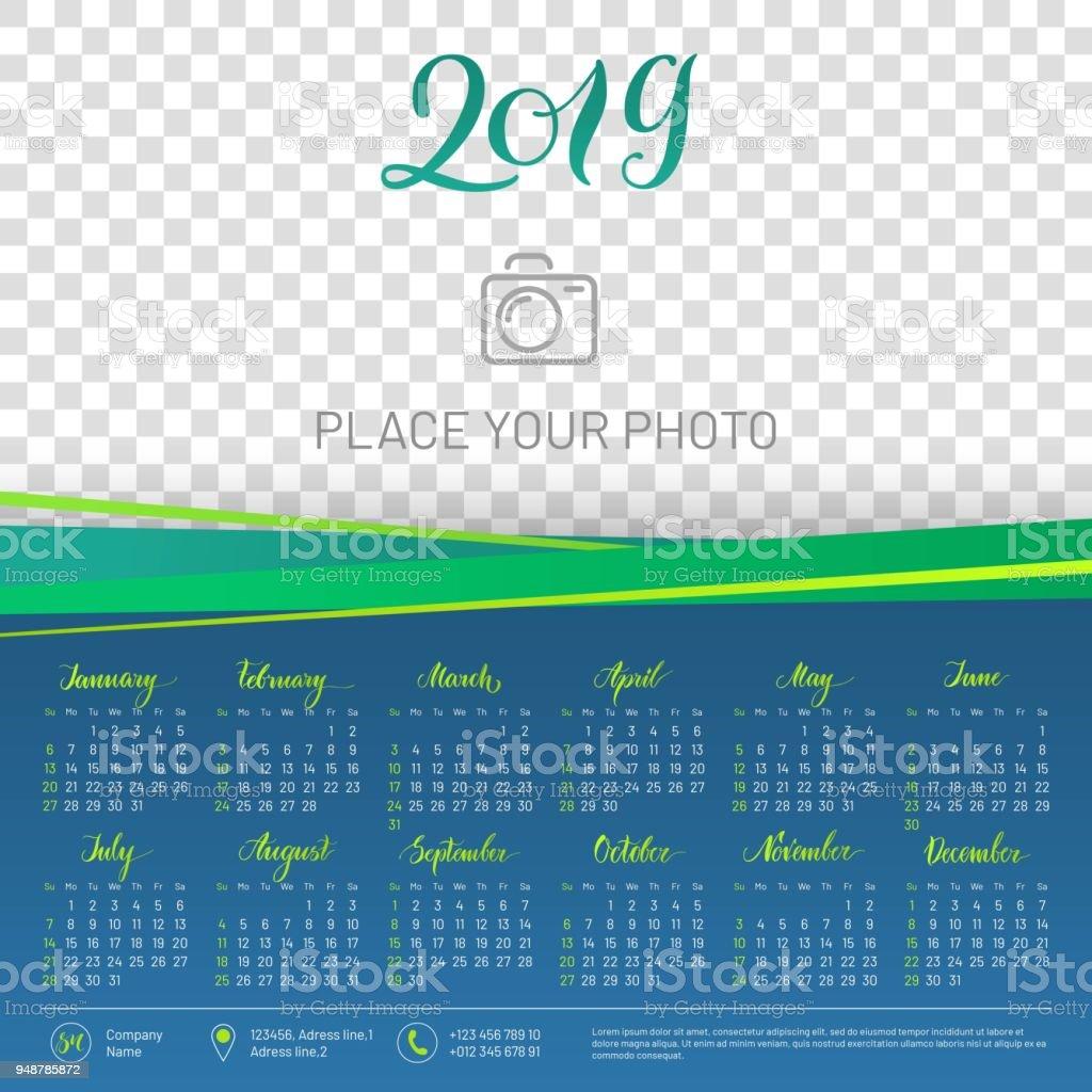 wall calendar 2019 year copy space atop royalty free wall calendar 2019 year copy