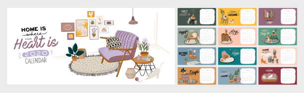ilustrações de stock, clip art, desenhos animados e ícones de wall calendar. 2020 yearly planner with all months - hygge