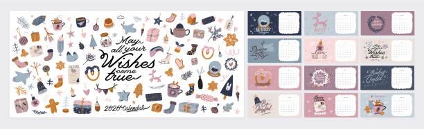ilustrações de stock, clip art, desenhos animados e ícones de wall calendar. 2020 yearly planner with all months. - hygge