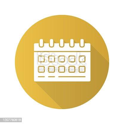 Ícone de glifo de sombra de calendário de parede longo. Ilustração de silhueta vetorial do planejador de mesa. Páginas mensais de planilha com anéis de pasta. Trabalho de escritório, acessório doméstico. Símbolo de gerenciamento de tempo