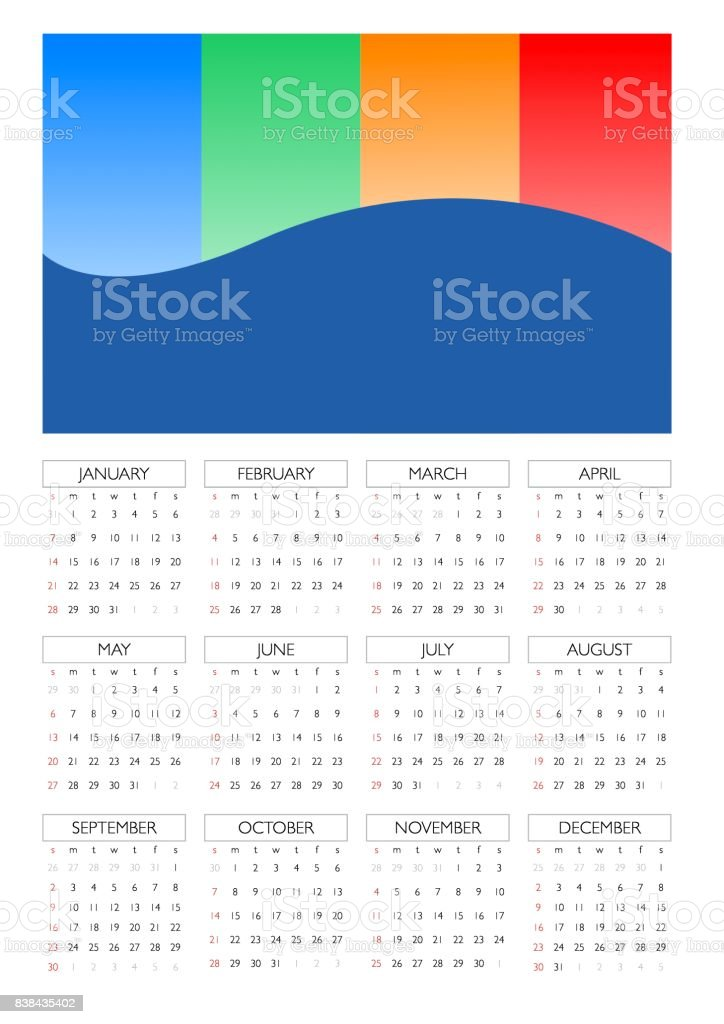 Wall Calendar For 2018 Design Template With Place For Photo Week