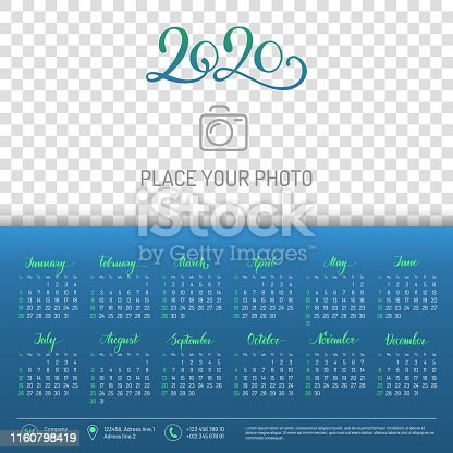 istock Wall calendar for 2020 year with place for photo 1160798419