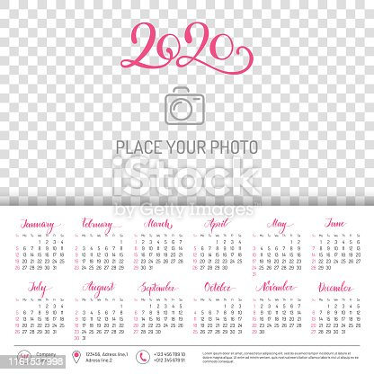 istock Wall calendar for 2020 year with place for photo 1161537998