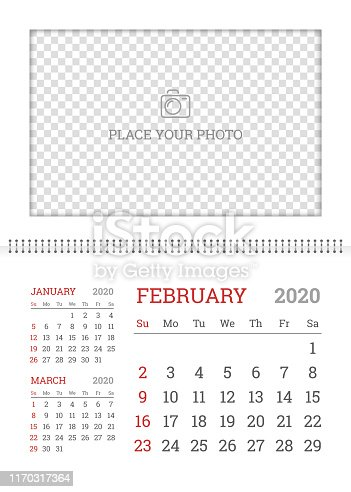 istock Wall calendar planner template for February 2020 1170317364