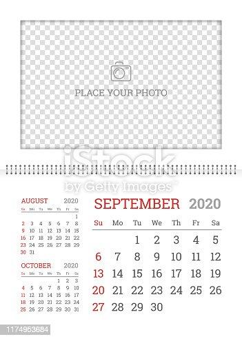 istock Wall calendar planner template for September 2020 1174953684