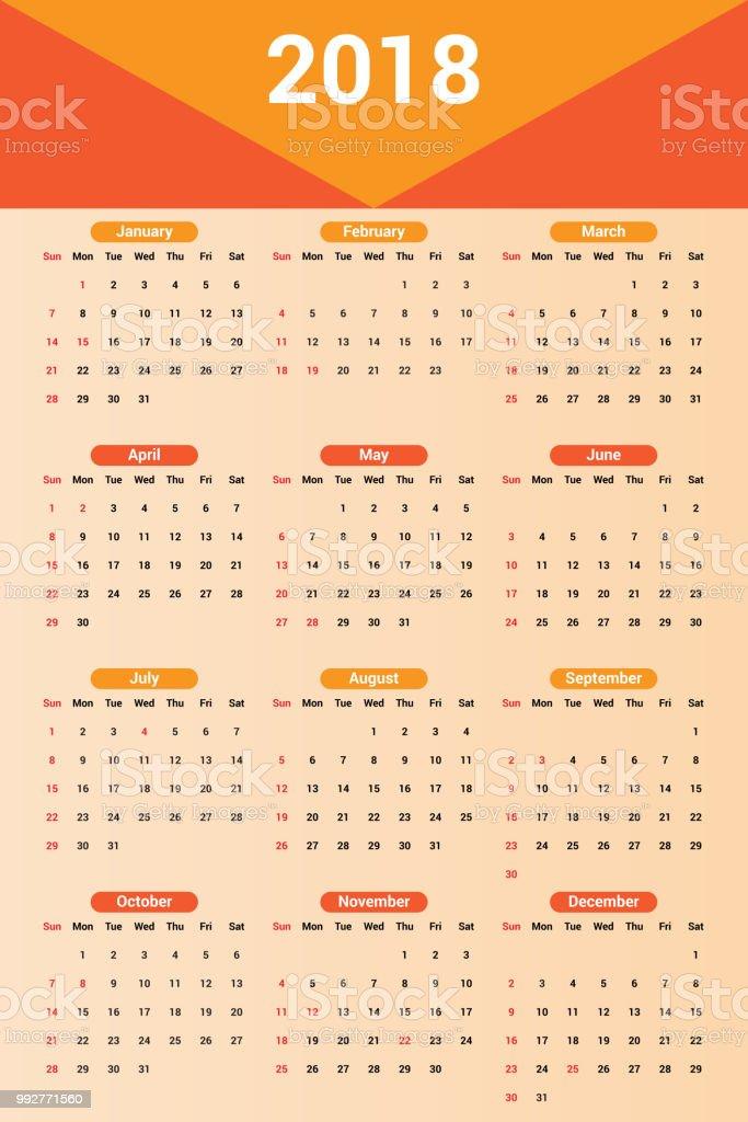 Wall Calendar Template For 2018 Year Vector Design Print Template