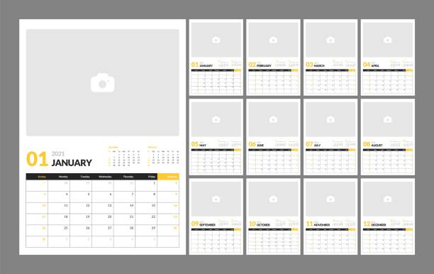 Wall calendar template for 2021 year. Planner diary in a minimalist style. Week Starts on Sunday. Monthly calendar. Wall calendar template for 2021 year. Planner diary in a minimalist style with Place for Photo. Week Starts on Sunday. Monthly calendar ready for print. calendars templates stock illustrations